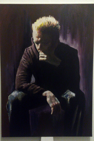 'Self portrait, blonde hair, black hooded top' by Mata Haggis, 2013. Oil on Canvas. 70x100cm