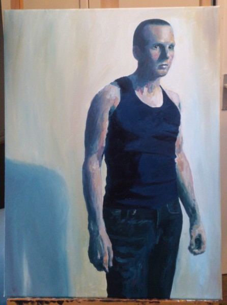 'Self-portrait, short hair, vest' by Mata Haggis, 2013. Oil on Canvas. 60x80cm