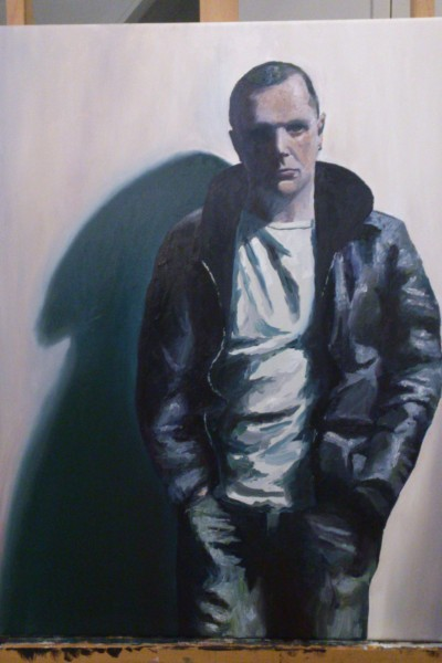 'Self portrait, short hair, leather jacket and white T-shirt' by Mata Haggis, 2013. Oil on Canvas. 60x80cm