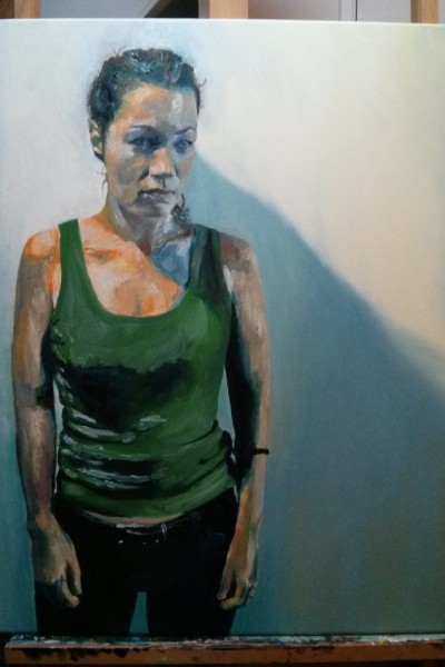 'Jo in green vest' by Mata Haggis, 2013. Oil on Canvas. 60x80cm