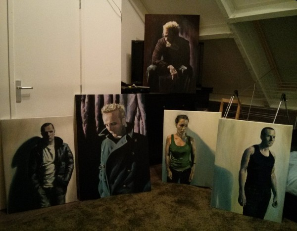Group image of five oil on canvas paintings by Mata Haggis, 2013