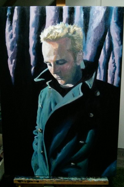 'Self-portrait, blonde hair, vintage coat' by Mata Haggis, 2013. Oil on Canvas. 70x100cm