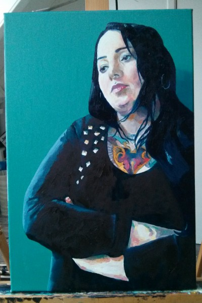 'Tirza in studded top' by Mata Haggis, 2013. Oil on Canvas. 40x60cm