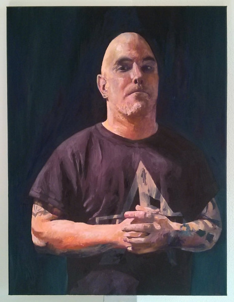 'Matt in Arkham T-shirt' by Mata Haggis, 2013. Oil on Canvas. 60x80cm